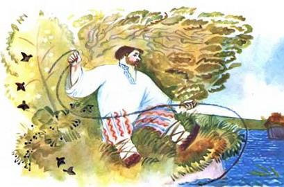 работник Балда крутит веревку у берега моря