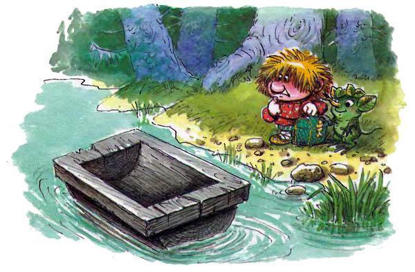 Домовёнок Кузька и Лешик на берегу реки в воде корыто