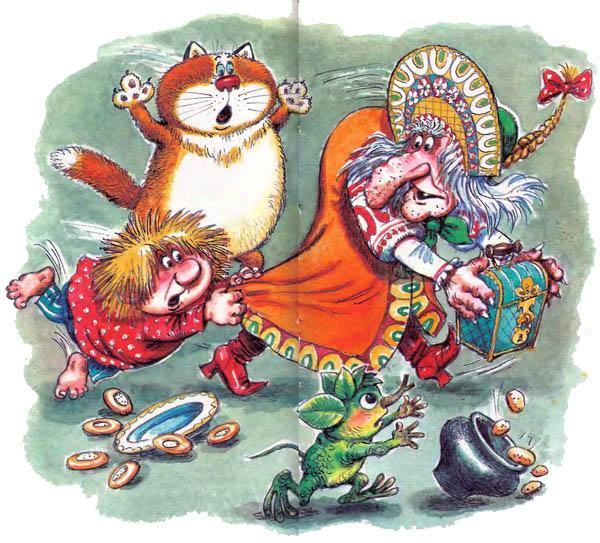 Баба-яга забрала сундучок Домовёнок Кузька и кот