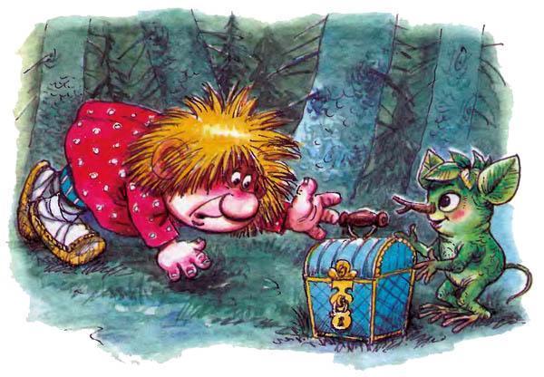 Домовёнок Кузька и Лешик с сундучком в лесу