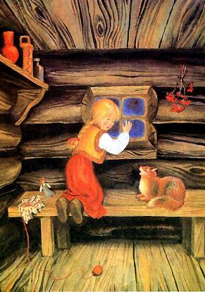 Дарёна и кошка Мурёнка у окошка