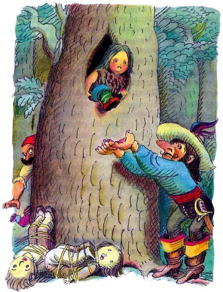 Питер Пен из дупла в дереве