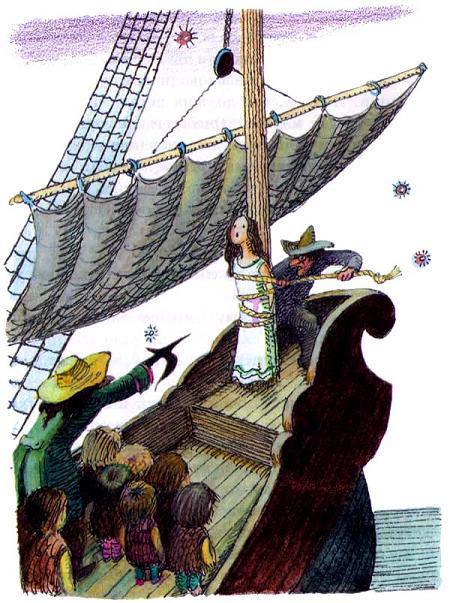 капитан крюк и его пленница на пиратском корабле