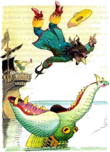 капитан крюк падает в пасть крокодила