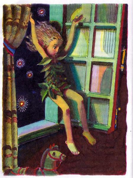 Питер Пен влетает в окно ночью