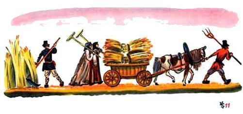 крестьяне убирают урожай