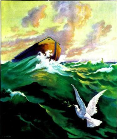 ковчег Ноя в открытом море и голубка
