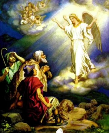 Ангелы возвещают пастухам о рождении Иисуса Христа.