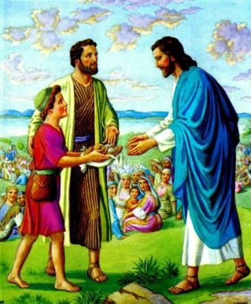 Иисус насыщает пять тысяч человек пятью хлебами