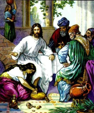 Один из фарисеев, Симон, пригласил Иисуса к себе на обед