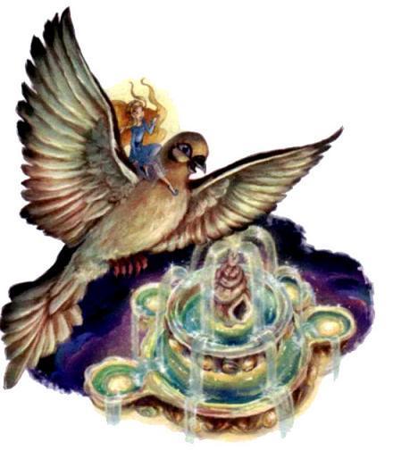 фея Рени верхом на голубке