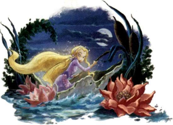 фея Рени плывет на листке