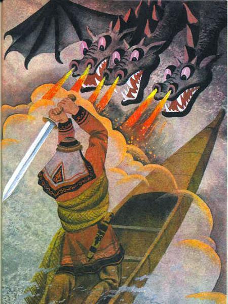 Мыргы (ульчская сказка). бой с трехглавым огнедышашим драконом.