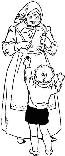Раскраска мальчика с бабушкой