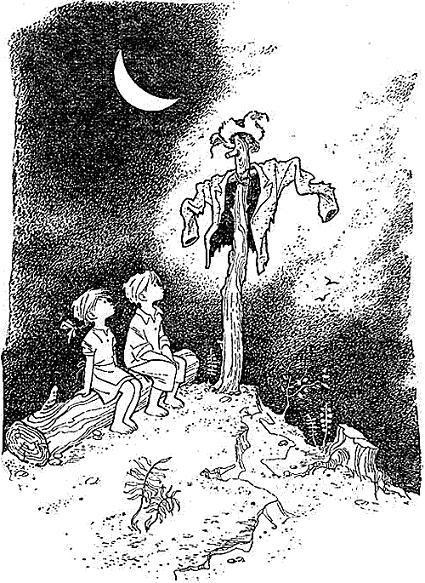 мальчик Лёня и девочка ночью в поле у пугала
