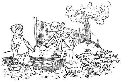 мальчик Лёня и девочка Арина кормят гусей