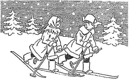 мальчик и девочка идут на лыжах по снегу