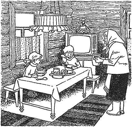бабушка угощает детей дети за столом