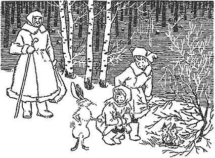 дети встретили в заснеженном лесу зайчика