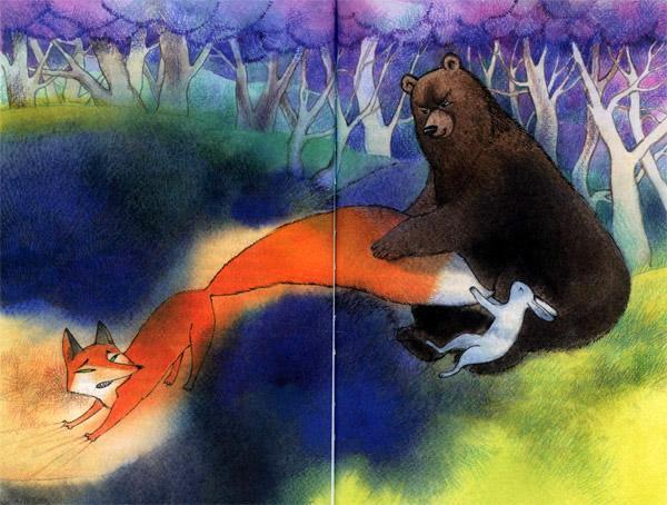 Медведь наступил лисе на хвост раскраска