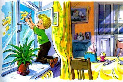 мальчик Дениска выкидывает в окно кашу из тарелки