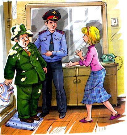 гражданин с кашей на шляпе и милициопер беседуют с мамой Дениса
