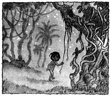 Маугли - человеческий детеныш бредет по лесу
