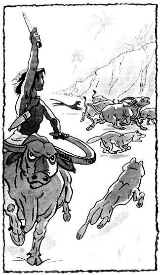 Маугли верхом на буйволе и волчья стая