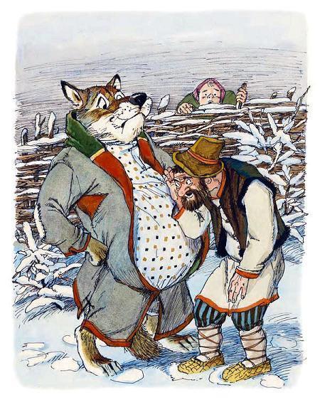 мужик слушает живот у волка