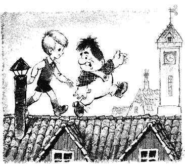 Малыш и Карлсон гуляют по крыше