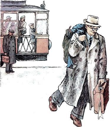 человек рассеянный Трамвай остановился.
