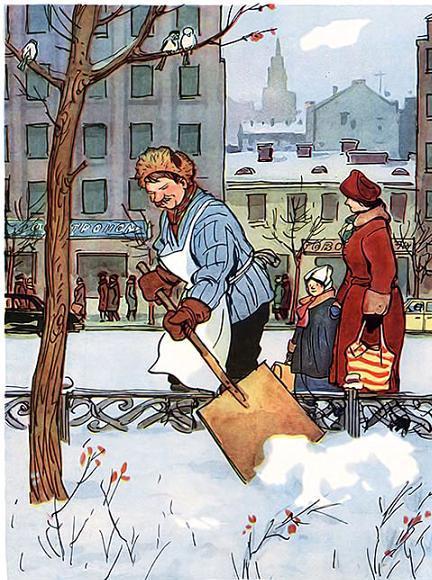 дворник убирает снег на улице