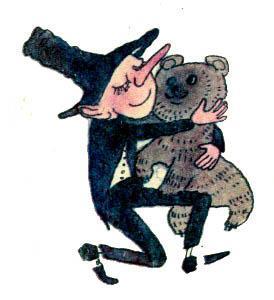 Скуперфильд обнимает медведя