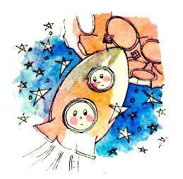 Незнайка и Пончик летят на луну в ракете