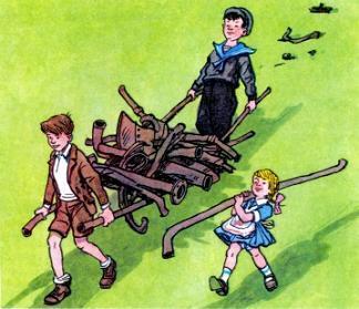 девочка Ниночка и ребята носят железный лом