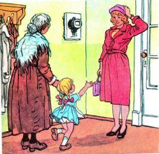 бабушка и Ниночка вернулись домой и встретили маму