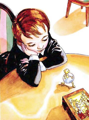 Миша смотрит: внизу табакерки отворяется дверца, и из дверцы выбегает мальчик с золотою головкою и в стальной юбочке