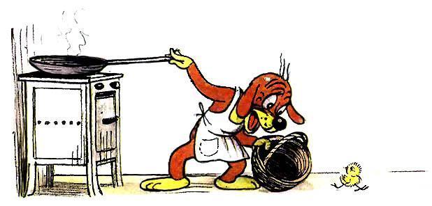 Пиф готовит яичницу