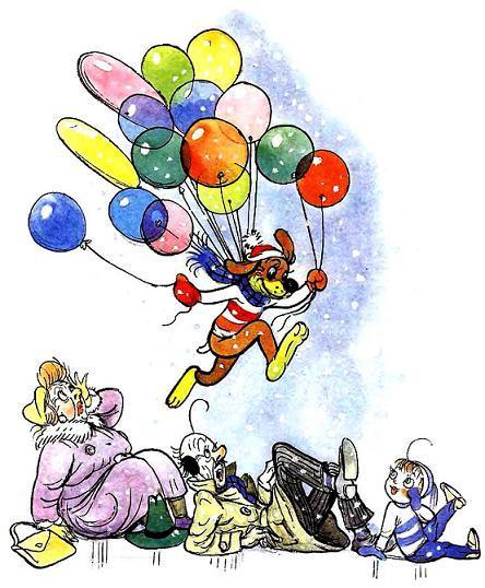Пиф летит на шариках