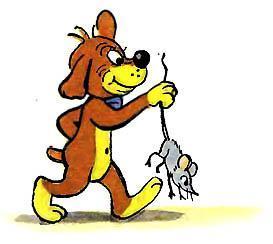 Пиф поймал мышь