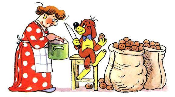 Пиф чистит картошку