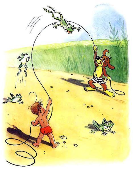 Пиф и Дуду лягушка скачет на скакалке