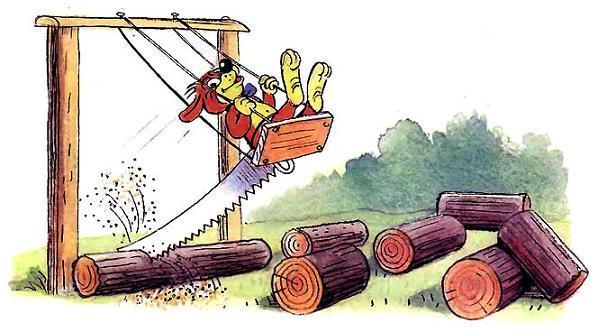 Пиф пилит дрова