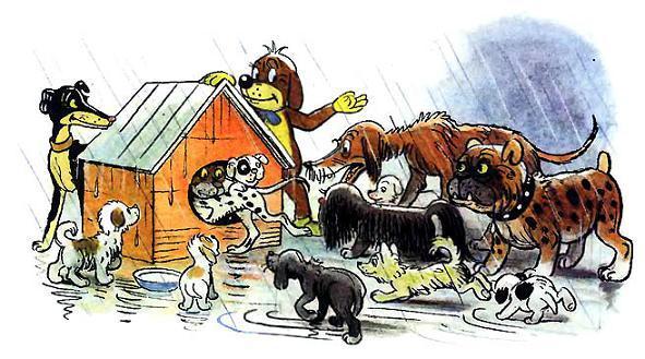 Пиф запускает в свою будку собак
