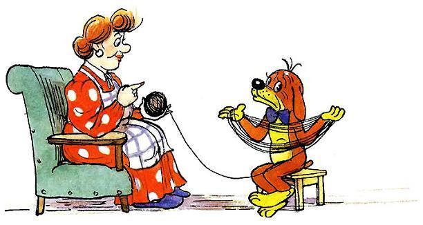 Пиф помогает тёте Агнете с пряжей