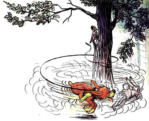 Пиф бегает за зайцем вокруг дерева