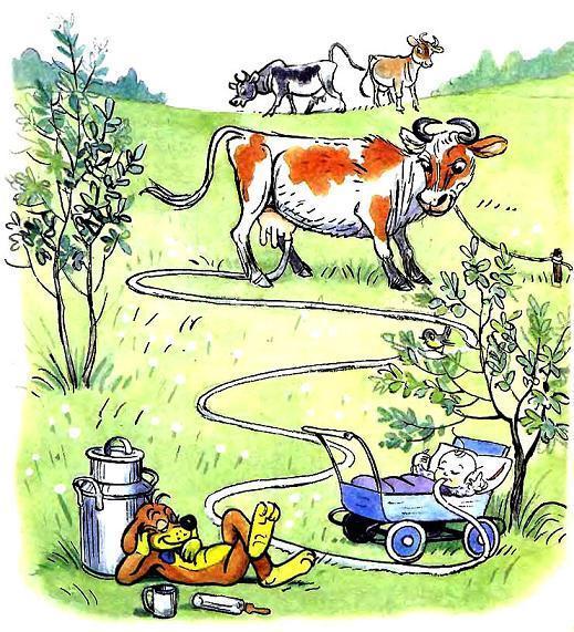 Пиф напоил малыша молоком прямо от коровы