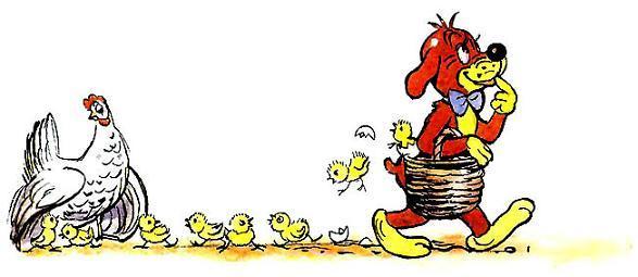 Пиф нес корзинку цыплята