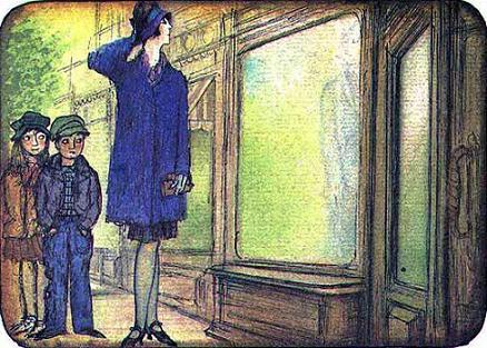 Мэри Поппинс Майкл и Джейн у витрины магазина истинная леди
