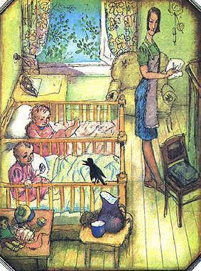 Мэри Поппинс  и близнецы в кроватках